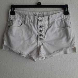 FREE PEOPLE white runaway slouch cut off shorts